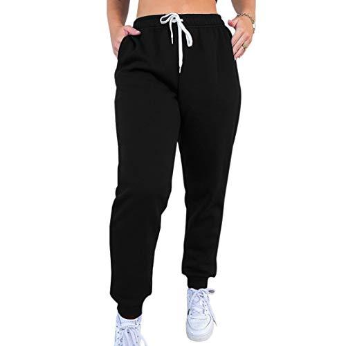 MoneRffi Damen Jogging-Sporthose für Damen Lange Hosen Loose Fit Elastischer Bund Freizeithose Jogginghose Hoher Trainingsanzug mit Taschen(B-Schwarz,M)