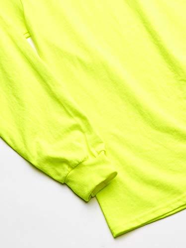 Gildan Men's Ultra Cotton Adult Long Sleeve T-Shirt, 2-Pack Shirt, -Safety Green, X-Large