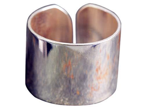 NicoWerk Damen Silberring Breit aus 925 Sterling Silber Glatt Schlicht Dezent Verstellbar Offen SRI328