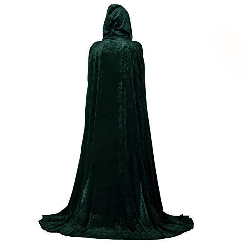 LA HAUTE Terciopelo con capucha Capa larga de Halloween Disfraz de Masquerade Juego de rol (Verde M)