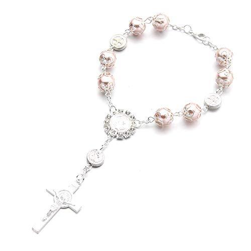 WeiHaoJian Rosenkranz Katholische Armband Saint St.Benedikt Kruzifix Göttliche Barmherzigkeit Geschenk - Rosa