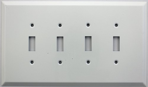 Over Sized Jumbo Smooth White Stamped Steel 4 Gang Wall Plate - 4 Toggle Switches