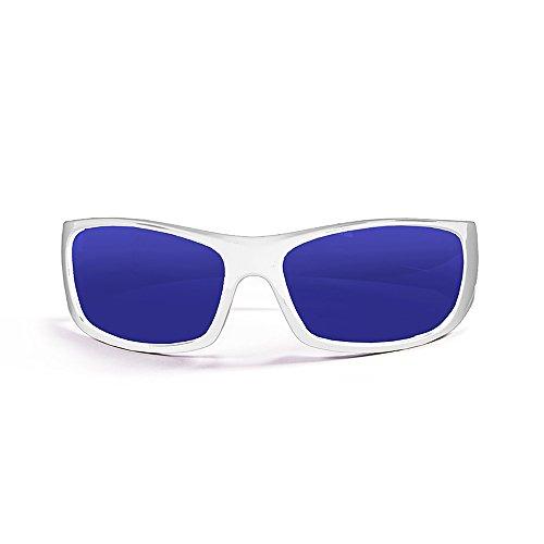Ocean Sunglasses Bermuda - Gafas de Sol polarizadas - Montura : Blanco Brillante - Lentes : Azul Espejo (3401.2)