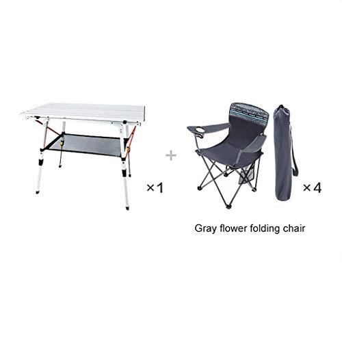 BCX Mesa plegable Mesa de picnic Mesa y sillas plegables portátiles ultraligeras para exteriores,1 mesa 4 sillas