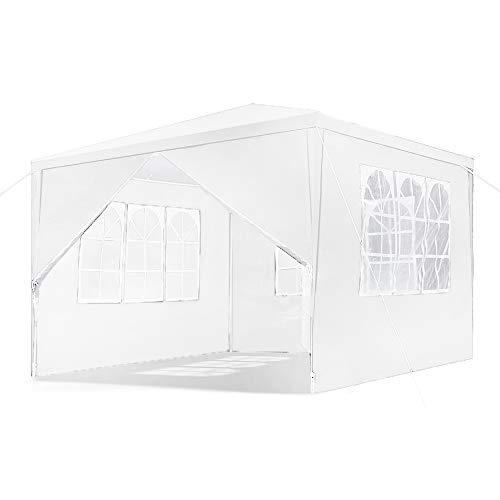 HENGMEI Gartenpavillon 3x3m Gartenzelt Partyzelt Pavillon Festzelt Wasserdicht mit 4 Seitenteilen Stahlkonstruktion (3x3m, Weiß)