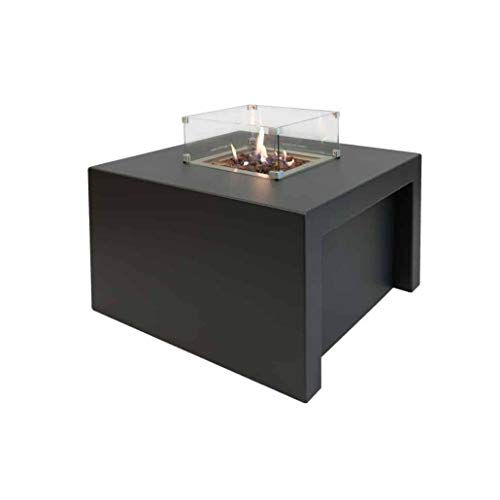 Easyfires Fire Table Sky Square on Gas Fire Pit, Gas Fireplace, Patio Fireplace, Square 95 x 95 x 55 cm