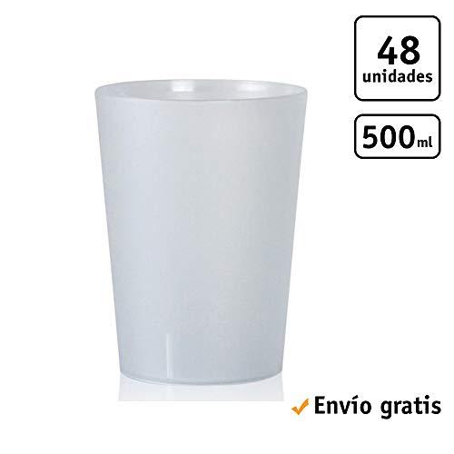 TELEVASO - 48 Unidades - Vaso Sidra 500 ml Reutilizable Extra Fuerte - Polipropileno (PP) Duro e irrompible - Color traslúcido Satinado - Vaso ecológico Libre de BPA, Cerveza, cubatas, Agua