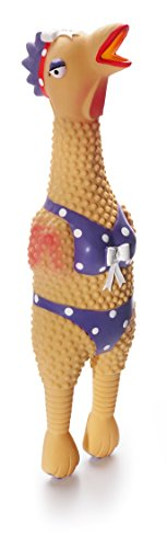 Charming Pet Henrietta Latex Rubber Squawking Chicken Dog Toy, Large