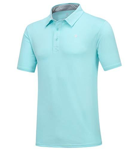 donhobo Polo básico de manga corta para hombre, de secado rápido, para golf azul celeste L