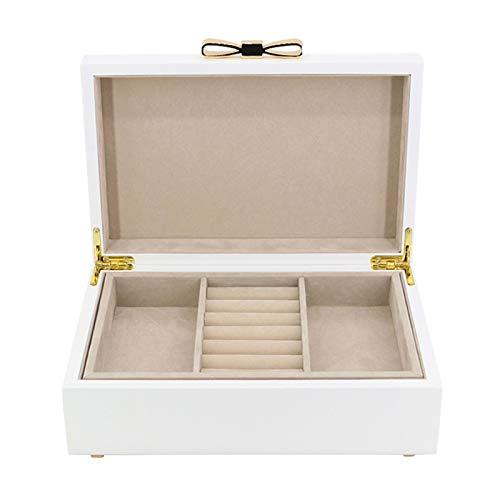 Cajas para joyas 2 capas Caja de joyería blanca de madera Organizador de almacenamiento de exhibición de joyería portátil for pendientes Collares, anillos, pulseras, broches, caja de joyería Joyero de