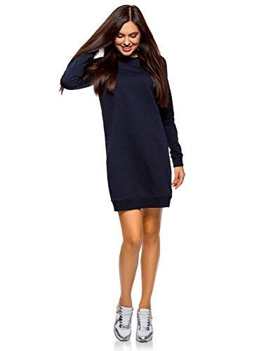 oodji Ultra Damen Kleid Basic im Sport-Stil, Blau, S