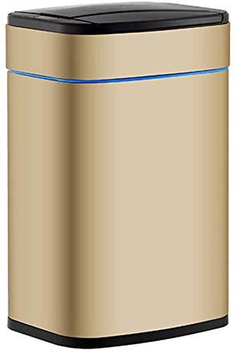 ZCRR Papelera con tapa, acero inoxidable USB de carga de basura/reciclador con 3 modos de sensor para el hogar, la oficina, la cocina y la vida (tamaño: 6L, color: oro champán)