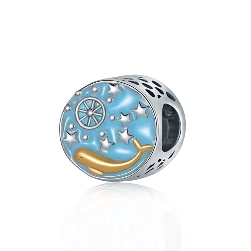 ZHANGCHEN Enamel Ball Stars Animal Dolphin Charms Beads Fit Bracelets & Bangles for Women Ocean Style DIY Making Gifts