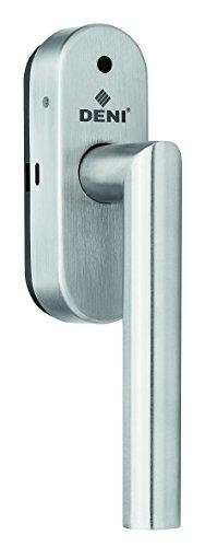 Deni Alarm Fenstergriff Edelstahl Made in Germany, Stift vorstehend : 32 mm, Alarmgriff mit Klimafunktion, Edelstahl matt gebürstet