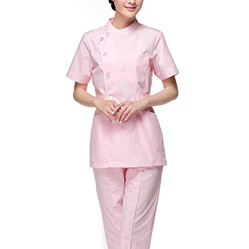 Frauengesundheitswesen-Kleidertunika Medizinische Uniformen Set Frauenkrankenhaus Langarm Kurzarm Stehkragen Top + Hosen Arbeitskleidung Outfit,Short,M