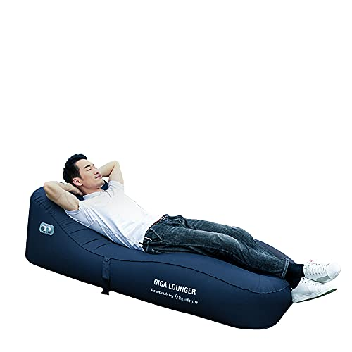 GIGA Lounge GS1:One-key automatic inflatable lounger , Fully Automatic Inflatable,Portable Auto Air Sofa,Integrated electric pump & power bank,60s fast inflating,Wear-resistant material-TPU(Navy Blue)