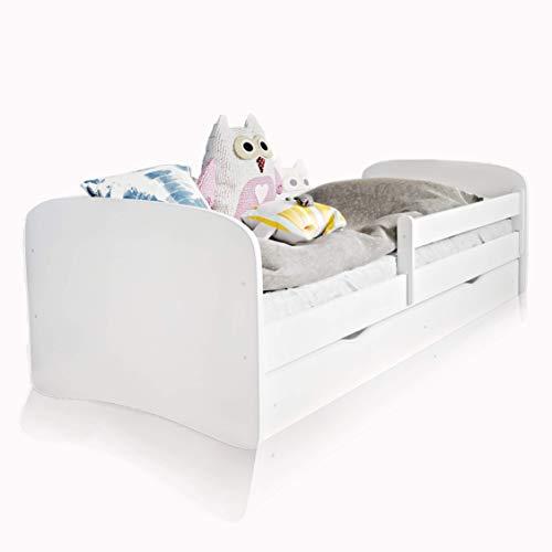 Alcube Kinderbett mit Rausfallschutz, Matratze und Schublade als Set, Bett für Jungen und Mädchen in weiß 90x180 cm