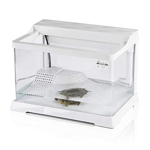 LSHUAIDJ Aquarium Turtle Tank, met droogplateau, watertank, ultrawit glas voor de woonkamer, aquarium, 39,5 x 27 x 26 cm