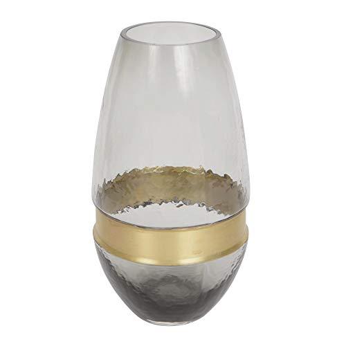 ORNAMI Glas Vaas voor Bloemen en Home Decoratie, Shabby Chic Design Vaas met Gouden Rand