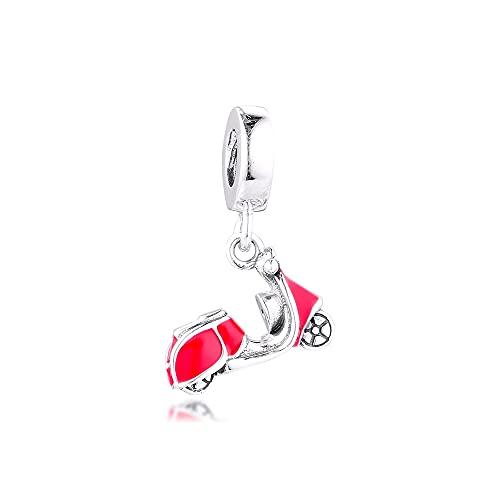 Joyería De Plata De Ley 925 para Mujer Abalorios Rojos para Scooter Se Ajustan A Pulseras Pandora Europeas Collares Fabricación De Joyas DIY