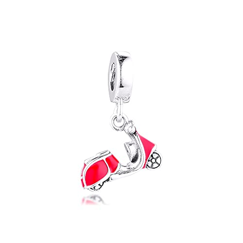 LILANG Pulsera de joyería Pandora 925, dijes de Scooter Rojos Naturales, Cuentas de Plata de Ley con Ajuste Original para Hacer Mujeres, Regalo DIY