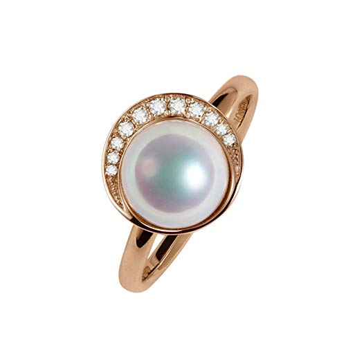 Daesar 18K Rose Gold Rings Women 0.07ct Diamond Ring Engagement Moon Shape Round Pearl Promise Rings Rose Gold Ring Size K 1/2