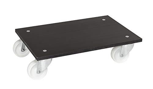Heavy duty roller met rubberen triplex plaat met licht lopende nylon rollen.