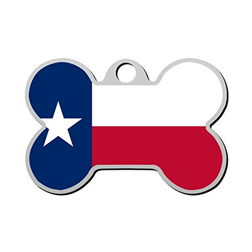 Reiligh Pet ID Tag Texas Flag Personalized Bone Shaped Dog Tags & Cat Tags Identity with Double Sided Printed - DIY Custom