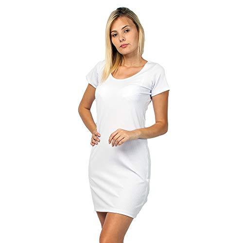 Vestido Feminino Curto Canelado Manga Curta Part.B (Branco, GG)