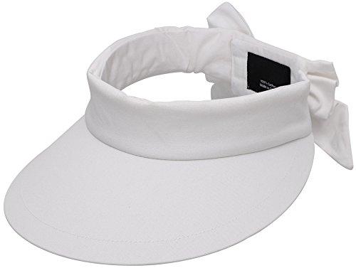 Simplicity Women's SPF 50+ UV Protection Wide Brim Beach Sun Hat,White Visor
