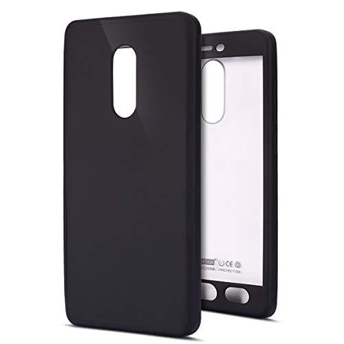Funda Compatible Xiaomi Redmi Note 4X.KunyFond Carcasa Silicona 360 Grados TPUlgado Frontal Trasera Pantalla Vidrio Templado 2 en 1 Estructura Incluido Case Cover Resisten Gel Back Bumper-Negro