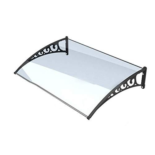 HYL Auvent de toit Abri Extérieur Porte Canopy Porche, Abri De Pluie Durable Preuve Météo, Plaque Transparente/Support Noir 80cmx100cm