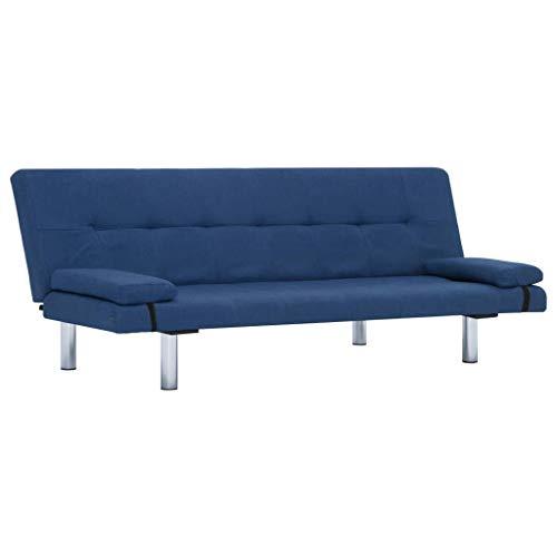 vidaXL Schlafsofa mit 2 Kissen Couch Schlafcouch Gästebett Bettsofa Klappsofa Polstersofa Sofa Schlaffunktion Sofagarnitur Couchgarnitur Blau Polyester