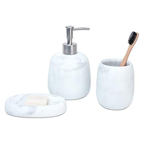 Badezimmer Zubehör Set Marmor, mit Seifenspender, Zahnputzbecher, Seifenschale, für Dékor, tolles Geschenk