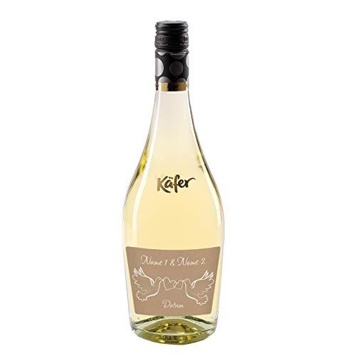 Herz & Heim® Feinkost Käfer Secco Bianco Frizzante in einer formschönen Flasche mit personalisiertem Etikett (weiß trocken) 750 ml Hochzeit Tauben