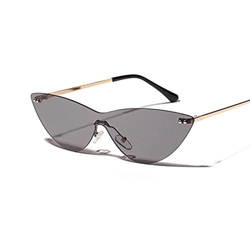 HAOMAO Gafas de sol de ojo de gato fotocromáticas con gradiente siamés sin montura Vintage para mujer, gafas de espejo rosa transparentes Retro C3