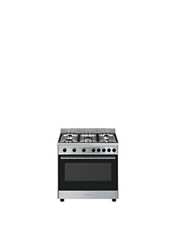 Smeg B90GMXI9 - Cocina (Cocina independiente, Negro, Acero inoxidable, Giratorio, Frente, Encimera de gas, Gas natural)