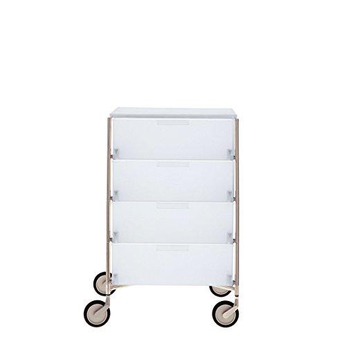 Mobil Rollcontainer mit 4 Schubladen / eisfarben