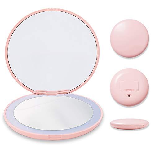 Espejo de viaje con 10 aumentos con luz, pequeño espejo compacto para bolsillo, portátil con iluminación LED, espejo de viaje plegable de 1 x 10 aumentos