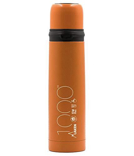 Laken 1L Naranja Termo de Acero Inoxidable con Tapón-Vaso, Adultos Unisex