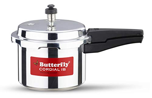Butterfly Cordial Induction Base Aluminium Pressure Cooker with Outer Lid, 3 litres, Silver