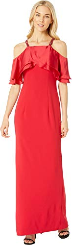 Adrianna Papell Women's Satin Popover Mermaid Gown with Beaded Cold Shoulder Sleeves, red, 10 (Apparel)