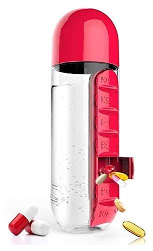 Botella de agua con organizador diario de píldoras, caja de almacenamiento de medicamentos y botella de agua a prueba de fugas combinación para exteriores, gimnasio, viajes Jsmhh (color: rojo)