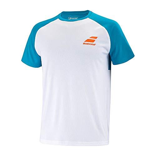 Babolat Camiseta Play Crew Neck Blanco Azul Junior