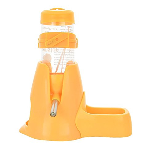 MOACC Hamster Trinkflasche mit der Napf Wasserflasche Gut für Kleintiere Nagen, Chinchilla, Kaninchen, Ratten, Frettchen, 80ml, Gelb