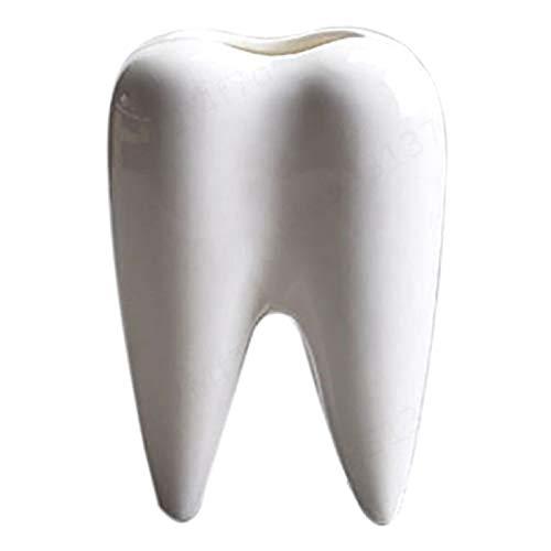 LNIEGE Zahnform weiß Keramik blumentopf modernes Design pflanzenzähne, geeignet für innendekoration, Geschenk geben, büro, etc. ohne Pflanzen