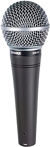 """Shure SM48 Cardioid Dynamic Vocal Microphone with Shock-Mounted Cartridge, Steel Mesh Grille and Integral """"Pop"""" Filter, A25D Mic Clip, Storage Bag, 3-pin XLR Connector, No Cable Included (SM48-LC)"""