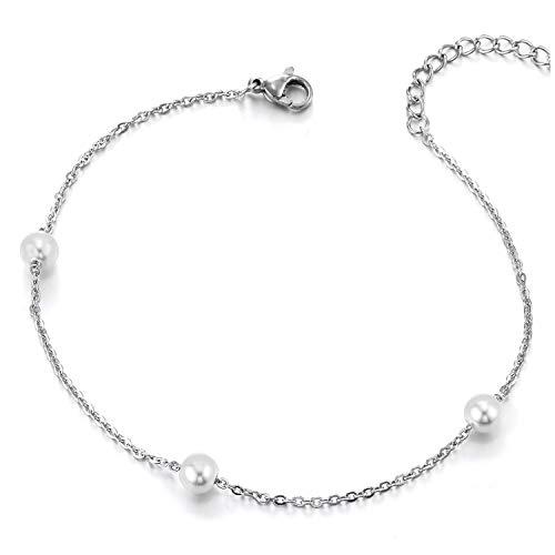 COOLSTEELANDBEYOND Elegante Edelstahl Damen Gliederkette Fußkette Fußkettchen mit Perle, Verstellbare