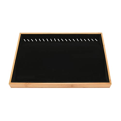 DIYARTS Schmuck Display Tablett Stapelbar Schmuck Organizer 24 * 35 cm Ohrring Fach Schublade Platte Bambus Halskette Halter Armband Ring Aufbewahrungsbox (A)