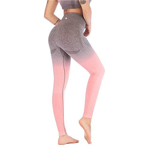 Leoyee Pantalones de chándal de Fitness Pantalones de Yoga de Cintura Alta sin Costura para Entrenamiento Deportivo de Mujer Pantalones Ajustados (Gris Claro/Rosa, S)